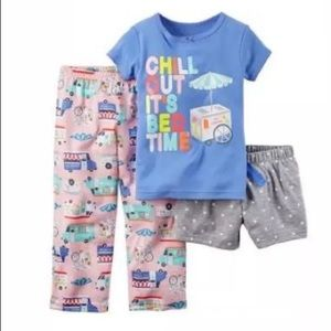 CARTER'S Pajamas 12M Purple Pink Chill Out 3pc